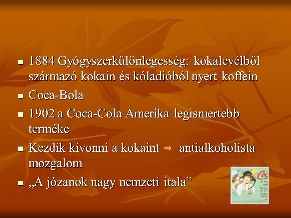 """1884 Gyógyszerkülönlegesség: kokalevélből származó kokain és kóladióból nyert koffein 1884 Gyógyszerkülönlegesség: kokalevélből származó kokain és kóladióból nyert koffein Coca-Bola Coca-Bola 1902 a Coca-Cola Amerika legismertebb terméke 1902 a Coca-Cola Amerika legismertebb terméke Kezdik kivonni a kokaint antialkoholista mozgalom Kezdik kivonni a kokaint antialkoholista mozgalom """"A józanok nagy nemzeti itala """"A józanok nagy nemzeti itala"""