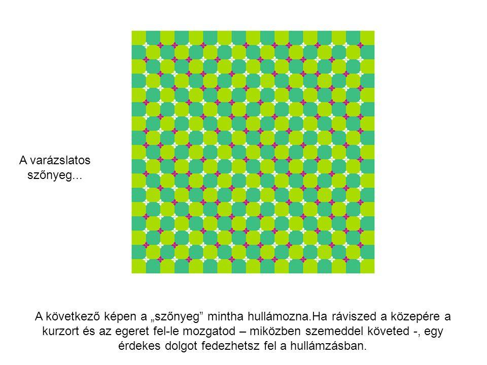"""A következő képen a """"szőnyeg"""" mintha hullámozna.Ha ráviszed a közepére a kurzort és az egeret fel-le mozgatod – miközben szemeddel követed -, egy érde"""