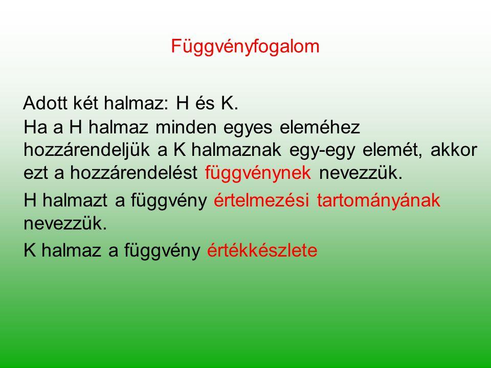 Függvényfogalom Adott két halmaz: H és K. Ha a H halmaz minden egyes eleméhez hozzárendeljük a K halmaznak egy-egy elemét, akkor ezt a hozzárendelést