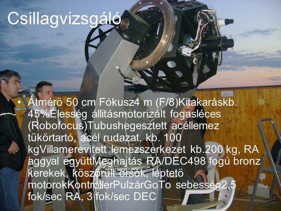 Csillagvizsgáló Átmérö 50 cm Fókusz4 m (F/8)Kitakaráskb.