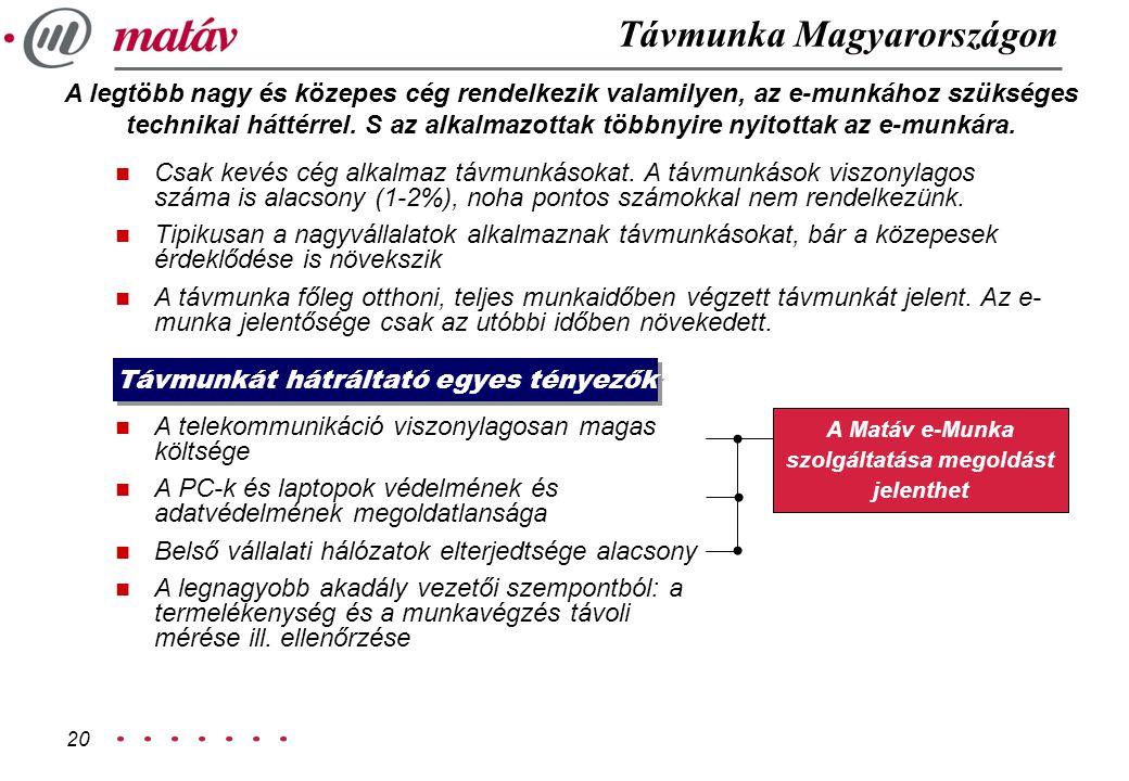 20 Távmunka Magyarországon n Csak kevés cég alkalmaz távmunkásokat. A távmunkások viszonylagos száma is alacsony (1-2%), noha pontos számokkal nem ren