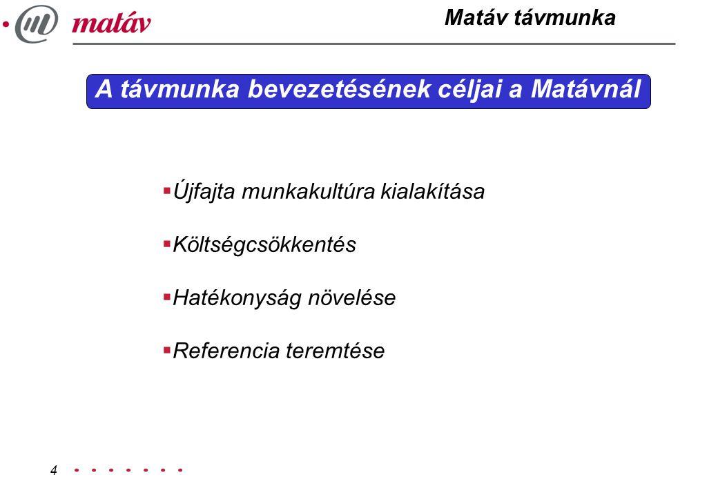 4 A távmunka bevezetésének céljai a Matávnál  Újfajta munkakultúra kialakítása  Költségcsökkentés  Hatékonyság növelése  Referencia teremtése Matá
