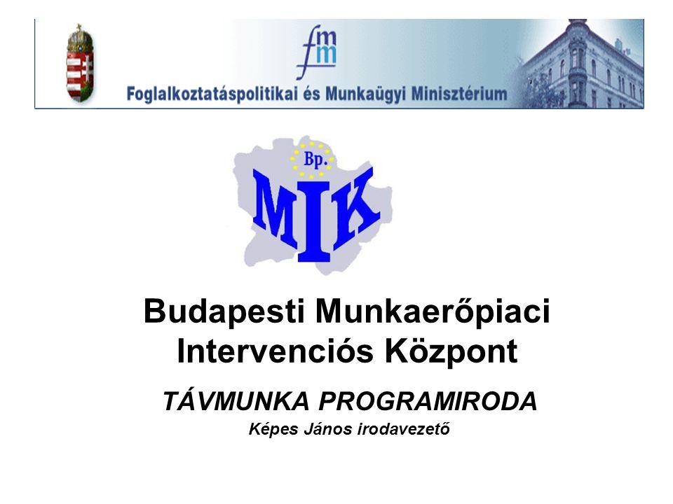 A Távmunka Programiroda megalakítása: A BMIK Bp-i Munkaerőpiaci Intervenciós Központ (Akkreditált felnőttképzést folytató Intézmény, része az Állami foglalkoztatási Szolgálatnak.) 'A név kötelez' Megalakul a távmunka programiroda /2002 szeptemberében./ Kormány foglalkoztatás-politikai céljai /100 napos program/ (hagyományos—atipikus)