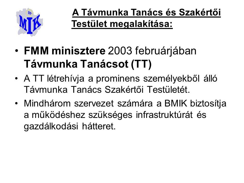 FMM minisztere 2003 februárjában Távmunka Tanácsot (TT) A TT létrehívja a prominens személyekből álló Távmunka Tanács Szakértői Testületét.