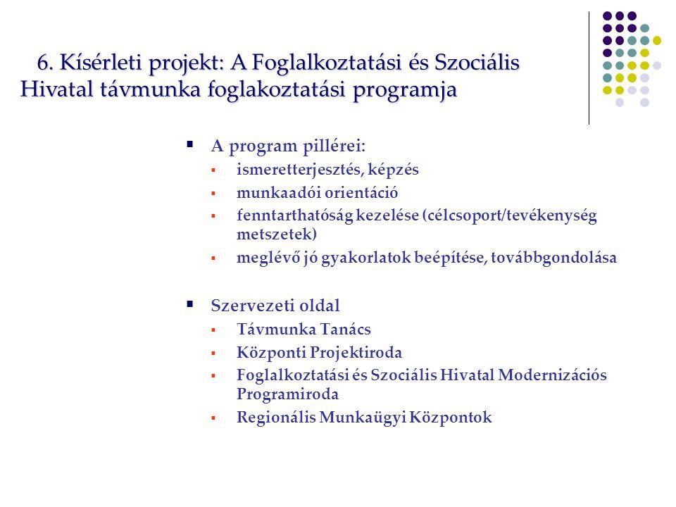  A program pillérei:  ismeretterjesztés, képzés  munkaadói orientáció  fenntarthatóság kezelése (célcsoport/tevékenység metszetek)  meglévő jó gyakorlatok beépítése, továbbgondolása  Szervezeti oldal  Távmunka Tanács  Központi Projektiroda  Foglalkoztatási és Szociális Hivatal Modernizációs Programiroda  Regionális Munkaügyi Központok 6.