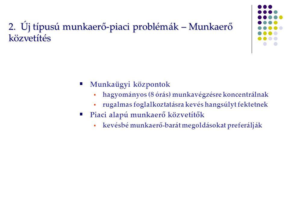 2. Új típusú munkaerő-piaci problémák – Munkaerő közvetítés  Munkaügyi központok  hagyományos (8 órás) munkavégzésre koncentrálnak  rugalmas foglal