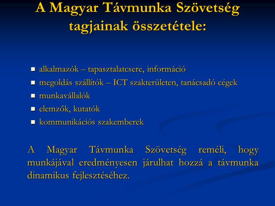 A Magyar Távmunka Szövetség tagjainak összetétele: alkalmazók – tapasztalatcsere, információ alkalmazók – tapasztalatcsere, információ megoldás szállítók – ICT szakterületen, tanácsadó cégek megoldás szállítók – ICT szakterületen, tanácsadó cégek munkavállalók munkavállalók elemzők, kutatók elemzők, kutatók kommunikációs szakemberek kommunikációs szakemberek A Magyar Távmunka Szövetség reméli, hogy munkájával eredményesen járulhat hozzá a távmunka dinamikus fejlesztéséhez.