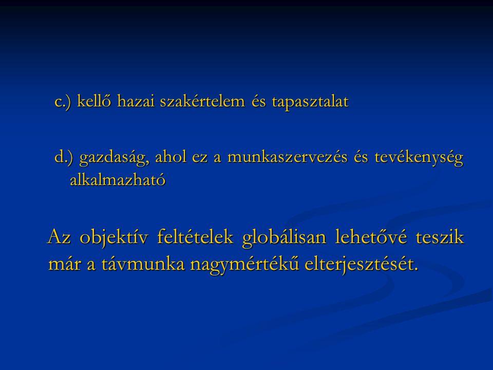 c.) kellő hazai szakértelem és tapasztalat d.) gazdaság, ahol ez a munkaszervezés és tevékenység alkalmazható Az objektív feltételek globálisan lehetővé teszik már a távmunka nagymértékű elterjesztését.