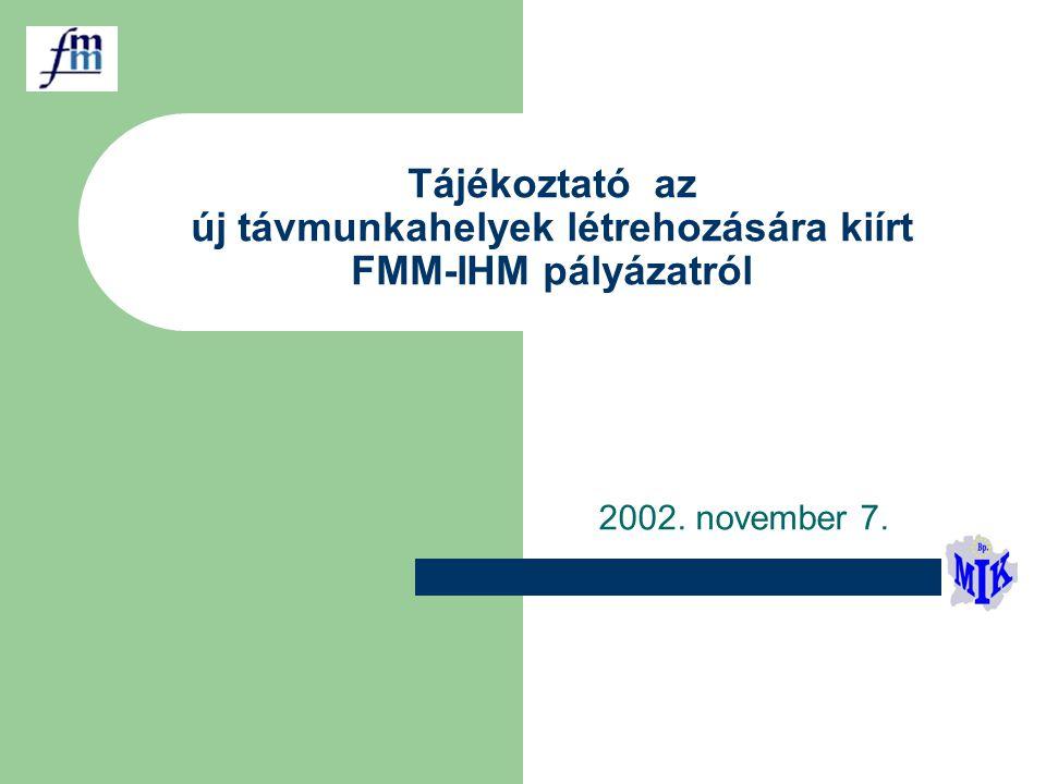 Tájékoztató az új távmunkahelyek létrehozására kiírt FMM-IHM pályázatról 2002. november 7.