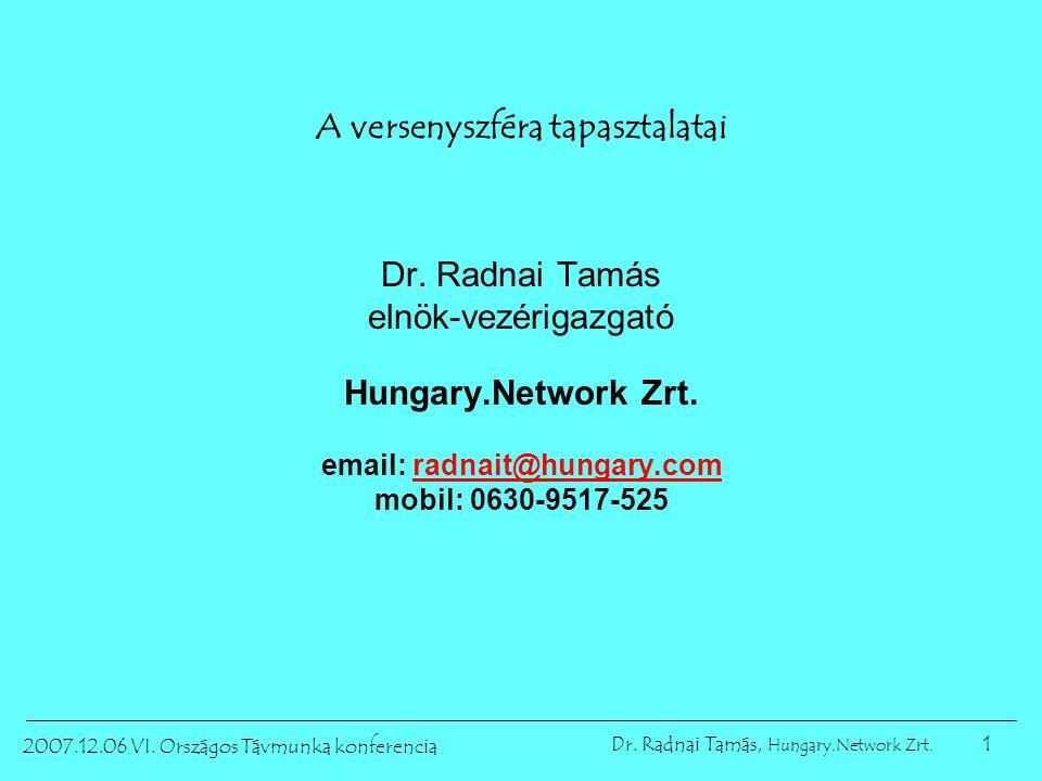 1 2007.12.06 VI. Országos Távmunka konferencia Dr. Radnai Tamás, Hungary.Network Zrt. A versenyszféra tapasztalatai Dr. Radnai Tamás elnök-vezérigazga