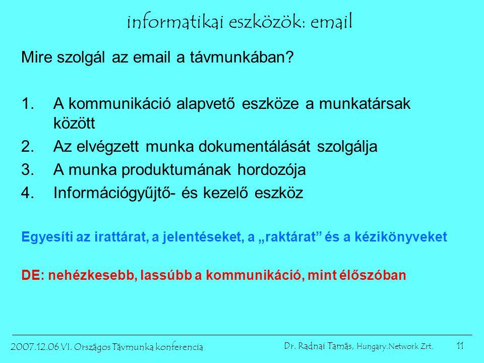 11 2007.12.06 VI. Országos Távmunka konferencia Dr. Radnai Tamás, Hungary.Network Zrt. informatikai eszközök: email Mire szolgál az email a távmunkába