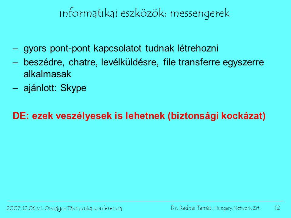 12 2007.12.06 VI. Országos Távmunka konferencia Dr. Radnai Tamás, Hungary.Network Zrt. informatikai eszközök: messengerek –gyors pont-pont kapcsolatot