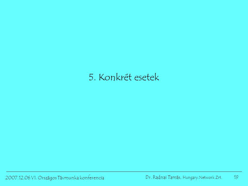19 2007.12.06 VI. Országos Távmunka konferencia Dr. Radnai Tamás, Hungary.Network Zrt. 5. Konkrét esetek