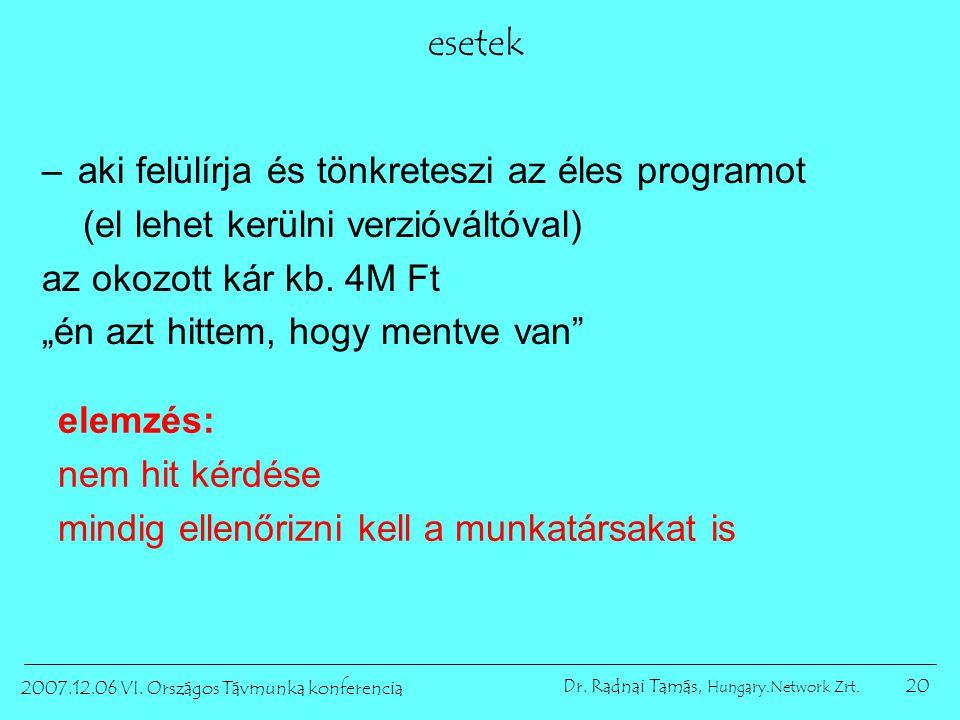 20 2007.12.06 VI. Országos Távmunka konferencia Dr. Radnai Tamás, Hungary.Network Zrt. esetek –aki felülírja és tönkreteszi az éles programot (el lehe