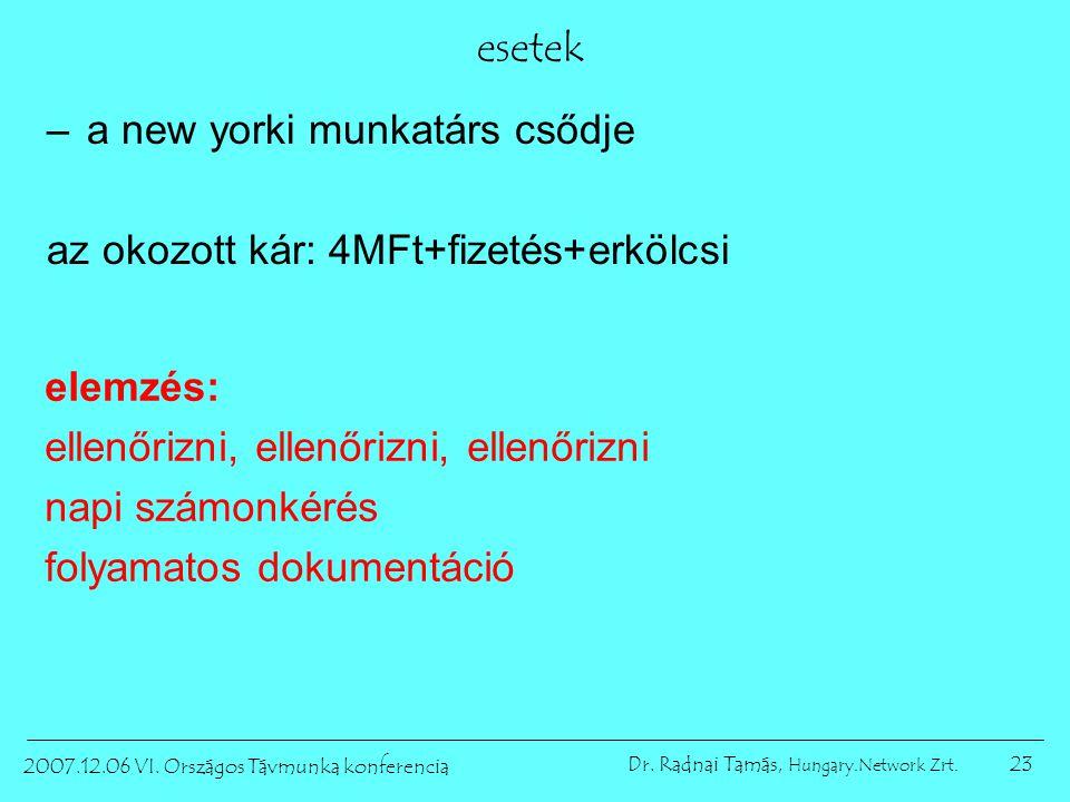 23 2007.12.06 VI. Országos Távmunka konferencia Dr. Radnai Tamás, Hungary.Network Zrt. esetek –a new yorki munkatárs csődje az okozott kár: 4MFt+fizet