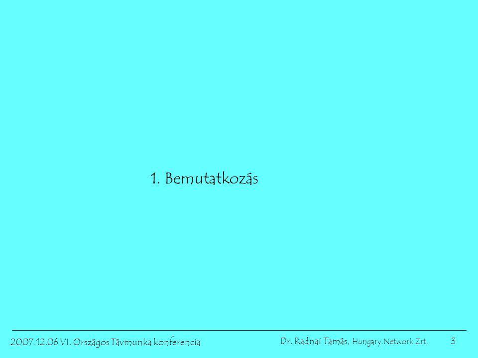3 2007.12.06 VI. Országos Távmunka konferencia Dr. Radnai Tamás, Hungary.Network Zrt. 1. Bemutatkozás