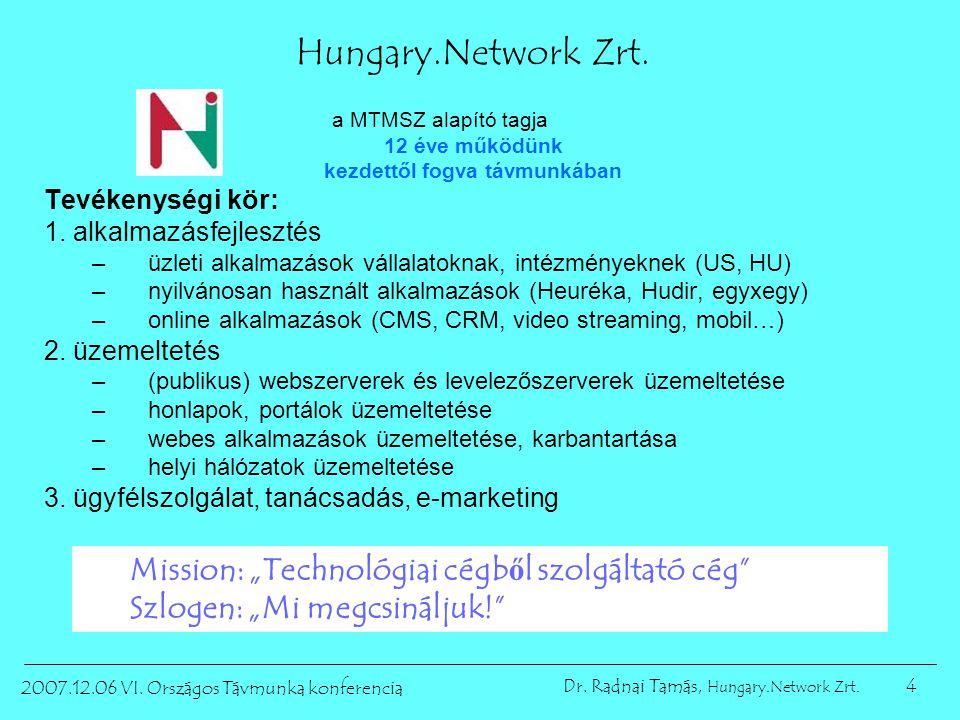 4 2007.12.06 VI. Országos Távmunka konferencia Dr. Radnai Tamás, Hungary.Network Zrt. Hungary.Network Zrt. a MTMSZ alapító tagja 12 éve működünk kezde