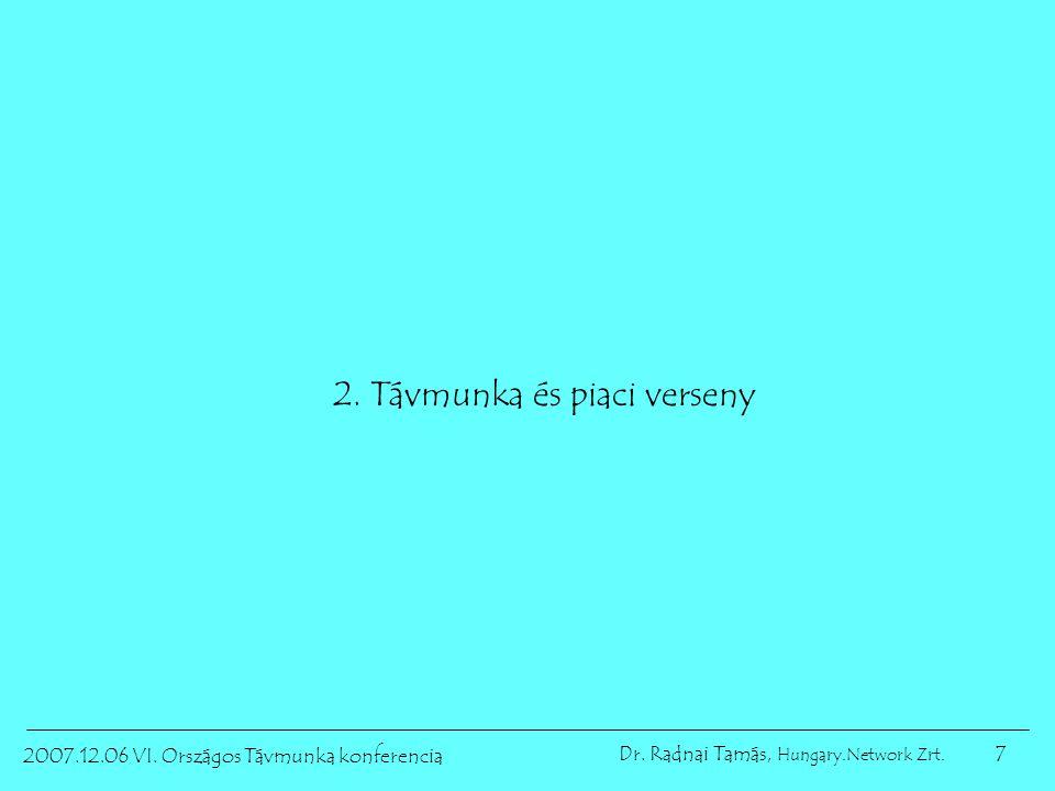 7 2007.12.06 VI. Országos Távmunka konferencia Dr. Radnai Tamás, Hungary.Network Zrt. 2. Távmunka és piaci verseny