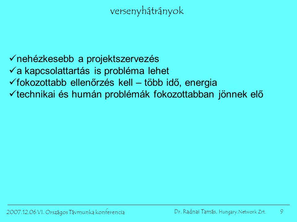 9 2007.12.06 VI. Országos Távmunka konferencia Dr. Radnai Tamás, Hungary.Network Zrt. versenyhátrányok nehézkesebb a projektszervezés a kapcsolattartá