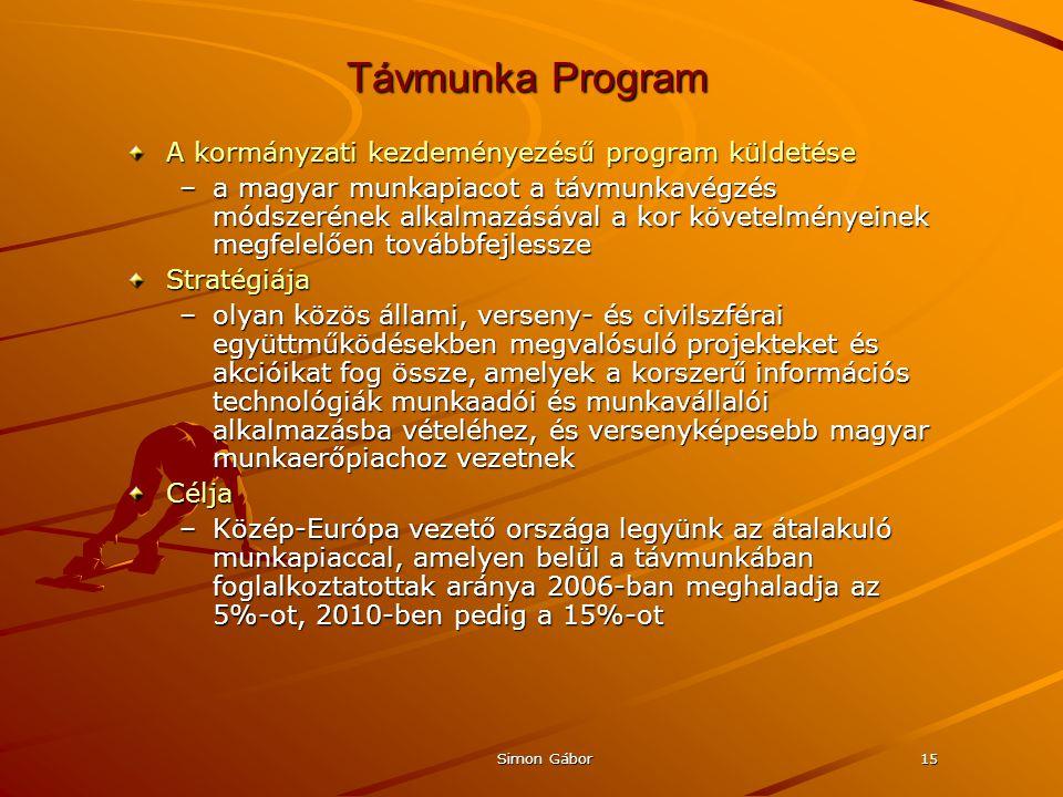 Simon Gábor15 Távmunka Program A kormányzati kezdeményezésű program küldetése –a magyar munkapiacot a távmunkavégzés módszerének alkalmazásával a kor követelményeinek megfelelően továbbfejlessze Stratégiája –olyan közös állami, verseny- és civilszférai együttműködésekben megvalósuló projekteket és akcióikat fog össze, amelyek a korszerű információs technológiák munkaadói és munkavállalói alkalmazásba vételéhez, és versenyképesebb magyar munkaerőpiachoz vezetnek Célja –Közép-Európa vezető országa legyünk az átalakuló munkapiaccal, amelyen belül a távmunkában foglalkoztatottak aránya 2006-ban meghaladja az 5%-ot, 2010-ben pedig a 15%-ot
