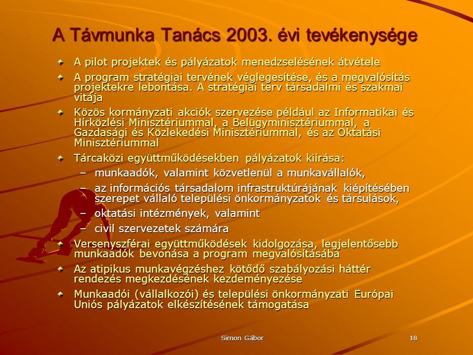 Simon Gábor18 A Távmunka Tanács 2003.
