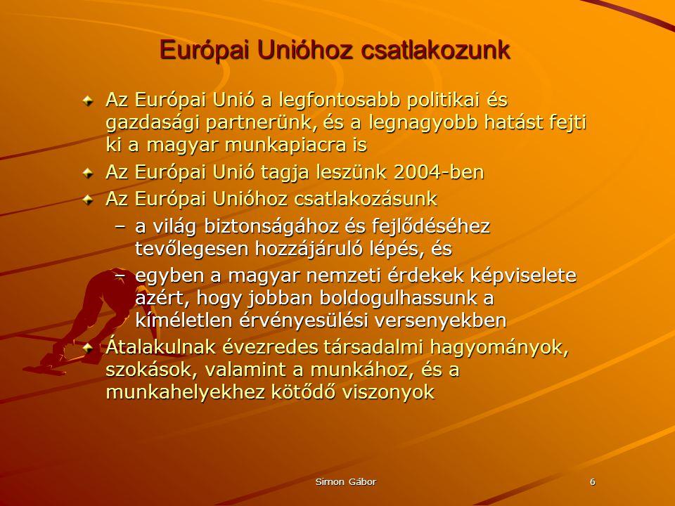 Simon Gábor6 Európai Unióhoz csatlakozunk Az Európai Unió a legfontosabb politikai és gazdasági partnerünk, és a legnagyobb hatást fejti ki a magyar munkapiacra is Az Európai Unió tagja leszünk 2004-ben Az Európai Unióhoz csatlakozásunk –a világ biztonságához és fejlődéséhez tevőlegesen hozzájáruló lépés, és –egyben a magyar nemzeti érdekek képviselete azért, hogy jobban boldogulhassunk a kíméletlen érvényesülési versenyekben Átalakulnak évezredes társadalmi hagyományok, szokások, valamint a munkához, és a munkahelyekhez kötődő viszonyok