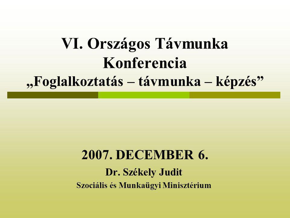 """VI. Országos Távmunka Konferencia """"Foglalkoztatás – távmunka – képzés 2007."""