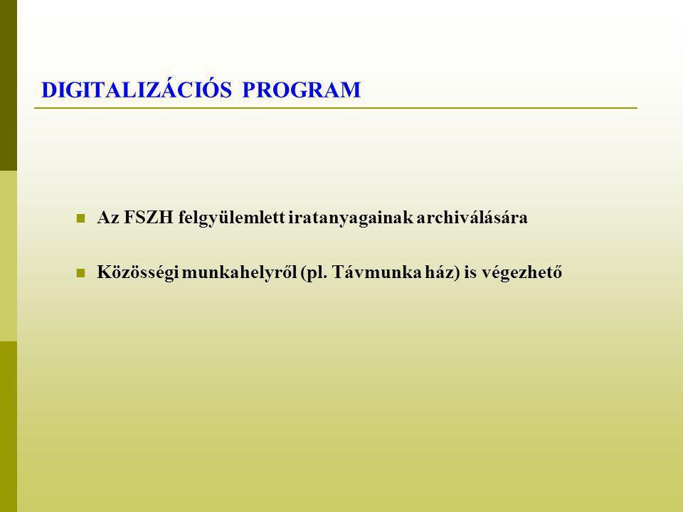 DIGITALIZÁCIÓS PROGRAM Az FSZH felgyülemlett iratanyagainak archiválására Közösségi munkahelyről (pl.