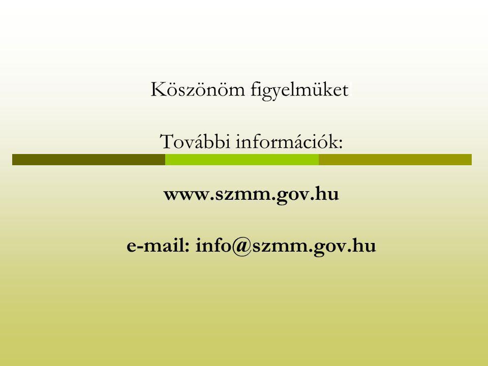 Köszönöm figyelmüket! További információk: www.szmm.gov.hu e-mail: info@szmm.gov.hu