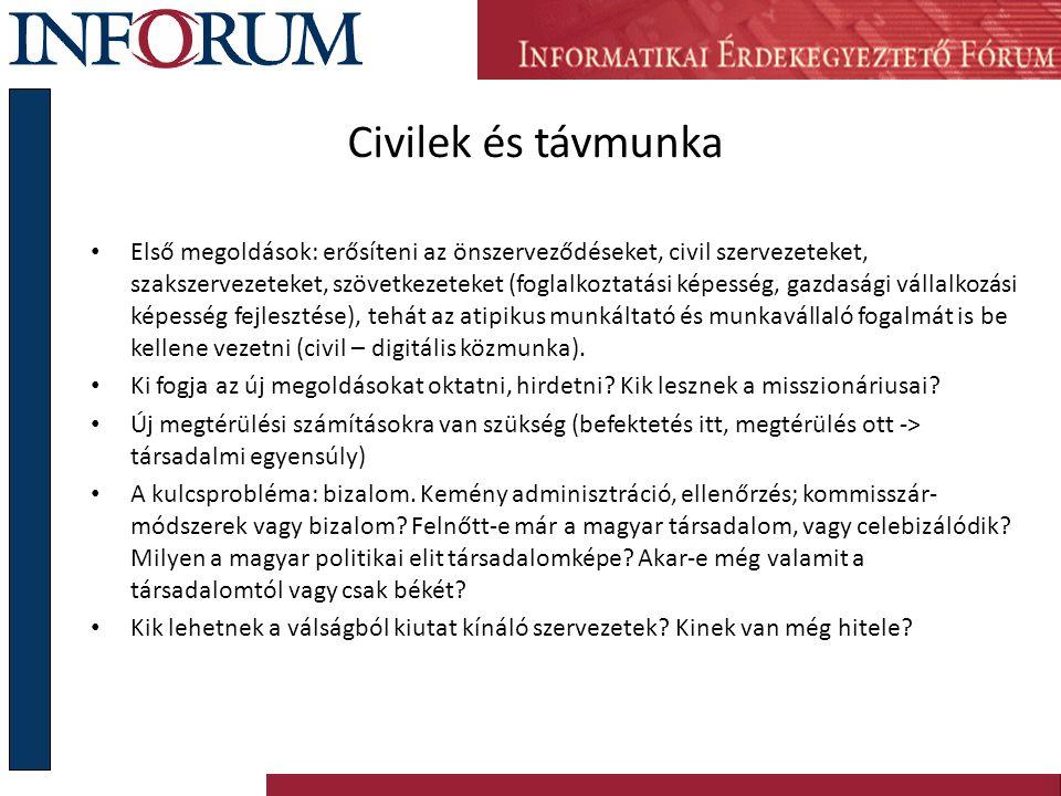 Civilek és távmunka Első megoldások: erősíteni az önszerveződéseket, civil szervezeteket, szakszervezeteket, szövetkezeteket (foglalkoztatási képesség, gazdasági vállalkozási képesség fejlesztése), tehát az atipikus munkáltató és munkavállaló fogalmát is be kellene vezetni (civil – digitális közmunka).