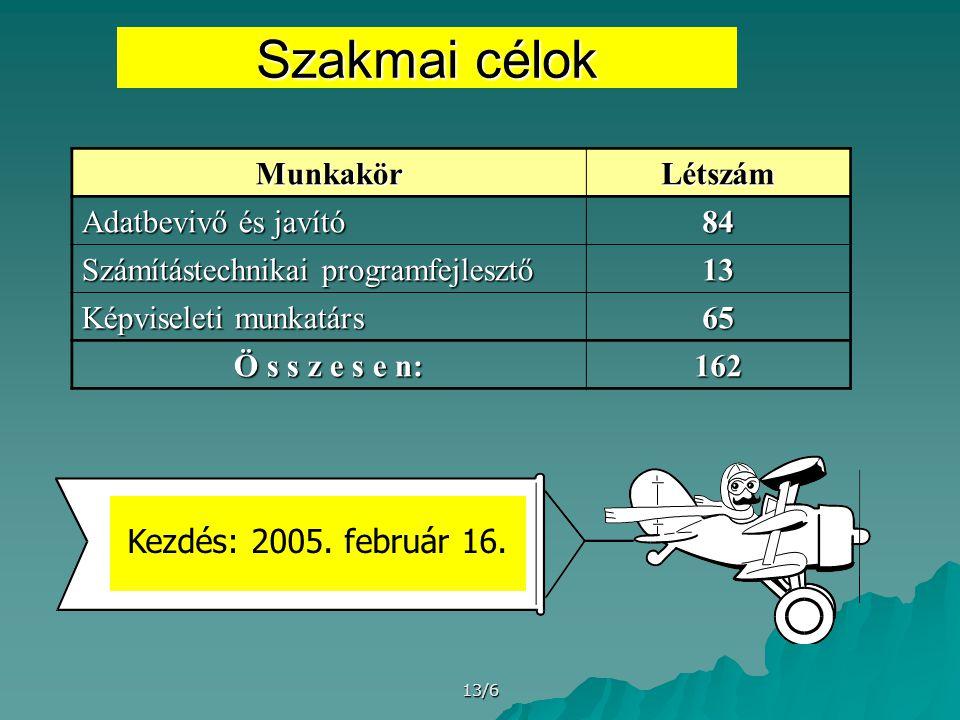 13/6 Szakmai célok MunkakörLétszám Adatbevivő és javító 84 Számítástechnikai programfejlesztő 13 Képviseleti munkatárs 65 Ö s s z e s e n: 162 Kezdés: 2005.