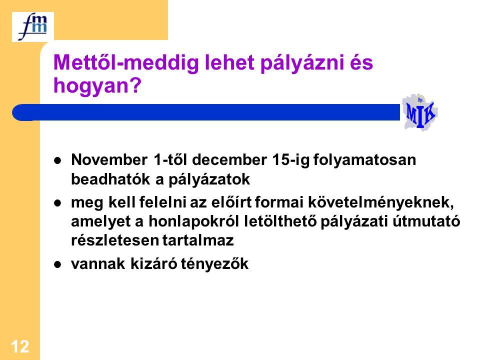 12 Mettől-meddig lehet pályázni és hogyan? November 1-től december 15-ig folyamatosan beadhatók a pályázatok meg kell felelni az előírt formai követel