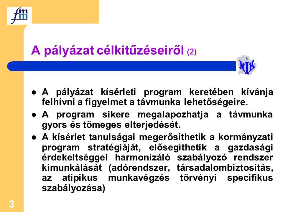 3 A pályázat célkitűzéseiről (2) A pályázat kísérleti program keretében kívánja felhívni a figyelmet a távmunka lehetőségeire. A program sikere megala