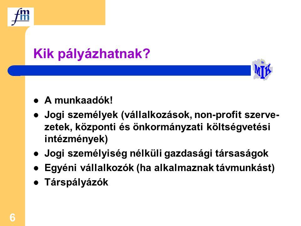 6 Kik pályázhatnak? A munkaadók! Jogi személyek (vállalkozások, non-profit szerve- zetek, központi és önkormányzati költségvetési intézmények) Jogi sz