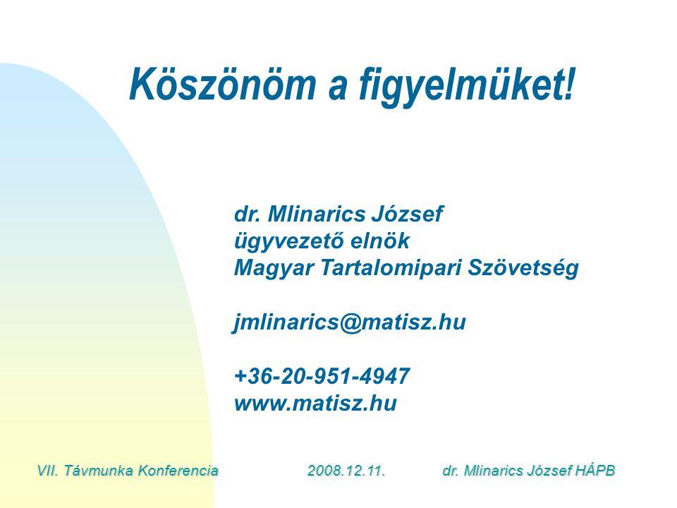 VII. Távmunka Konferencia2008.12.11.dr. Mlinarics József HÁPB Köszönöm a figyelmüket.