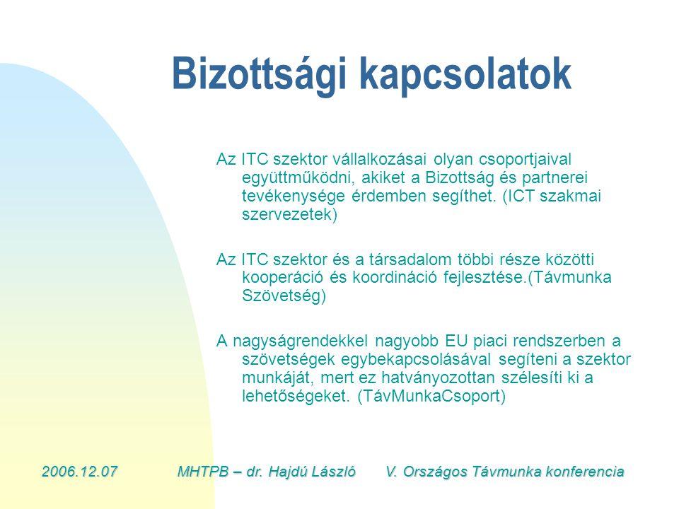 2006.12.07MHTPB – dr. Hajdú László V. Országos Távmunka konferencia Bizottsági kapcsolatok Az ITC szektor vállalkozásai olyan csoportjaival együttműkö
