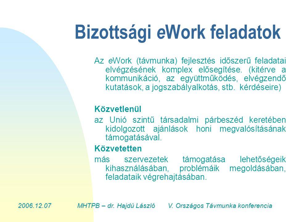 2006.12.07MHTPB – dr. Hajdú László V. Országos Távmunka konferencia Bizottsági e Work feladatok Az eWork (távmunka) fejlesztés időszerű feladatai elvé