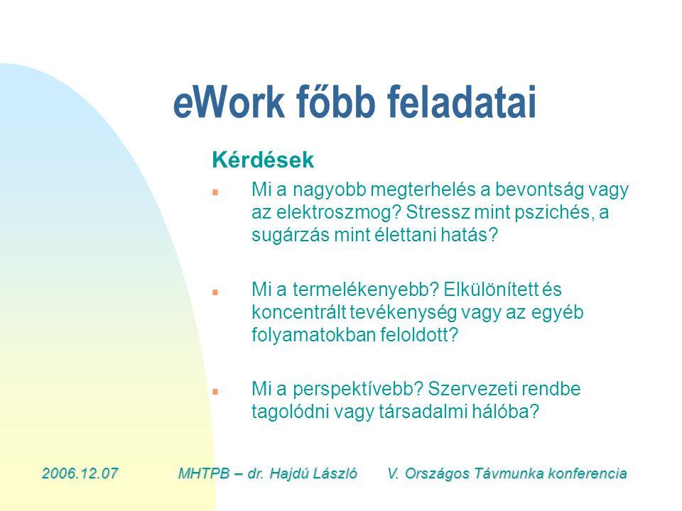 2006.12.07MHTPB – dr. Hajdú László V. Országos Távmunka konferencia e Work főbb feladatai Kérdések n n Mi a nagyobb megterhelés a bevontság vagy az el