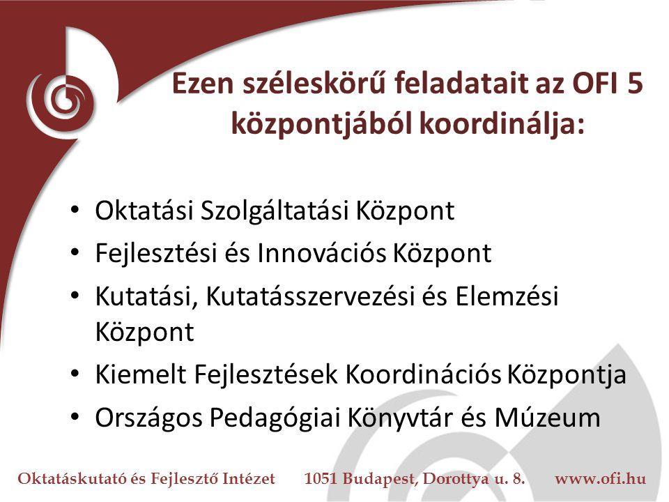 Oktatáskutató és Fejlesztő Intézet 1051 Budapest, Dorottya u. 8. www.ofi.hu Ezen széleskörű feladatait az OFI 5 központjából koordinálja: Oktatási Szo