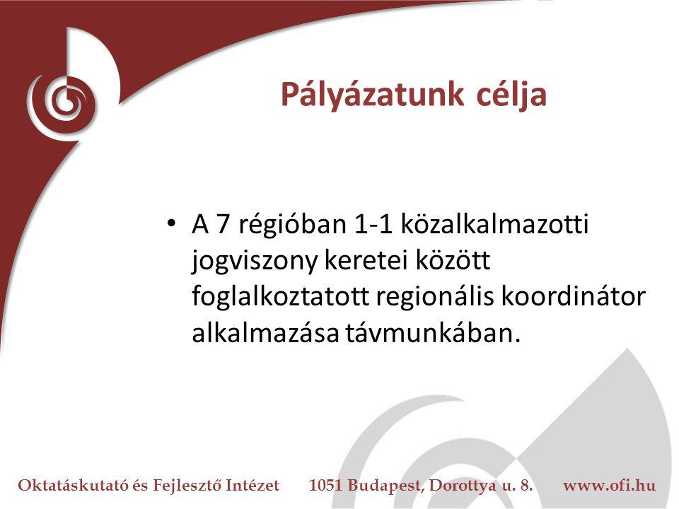 Oktatáskutató és Fejlesztő Intézet 1051 Budapest, Dorottya u. 8. www.ofi.hu Pályázatunk célja A 7 régióban 1-1 közalkalmazotti jogviszony keretei közö