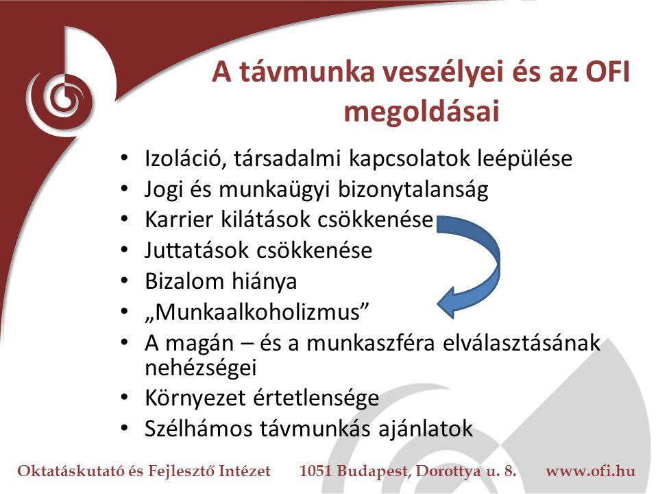 Oktatáskutató és Fejlesztő Intézet 1051 Budapest, Dorottya u. 8. www.ofi.hu A távmunka veszélyei és az OFI megoldásai Izoláció, társadalmi kapcsolatok