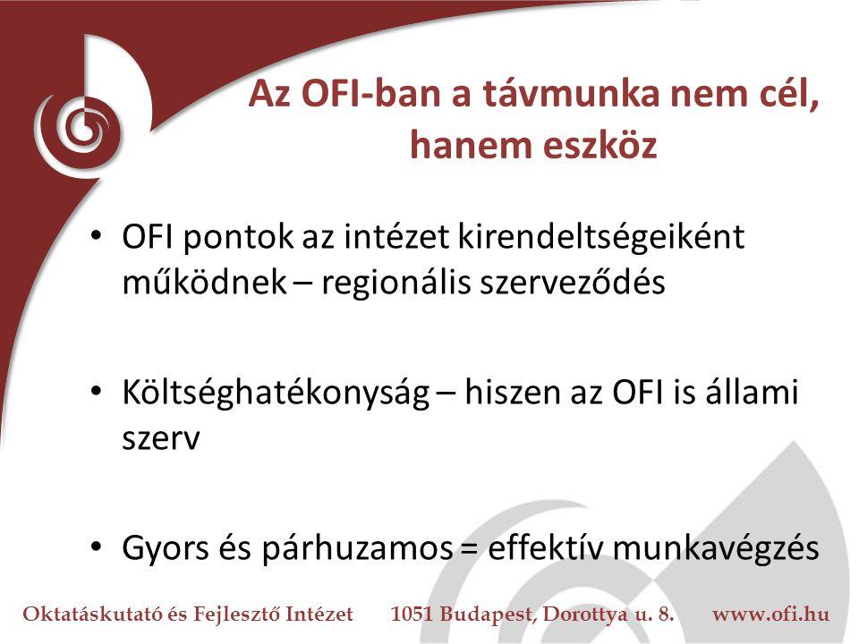 Oktatáskutató és Fejlesztő Intézet 1051 Budapest, Dorottya u. 8. www.ofi.hu Az OFI-ban a távmunka nem cél, hanem eszköz OFI pontok az intézet kirendel