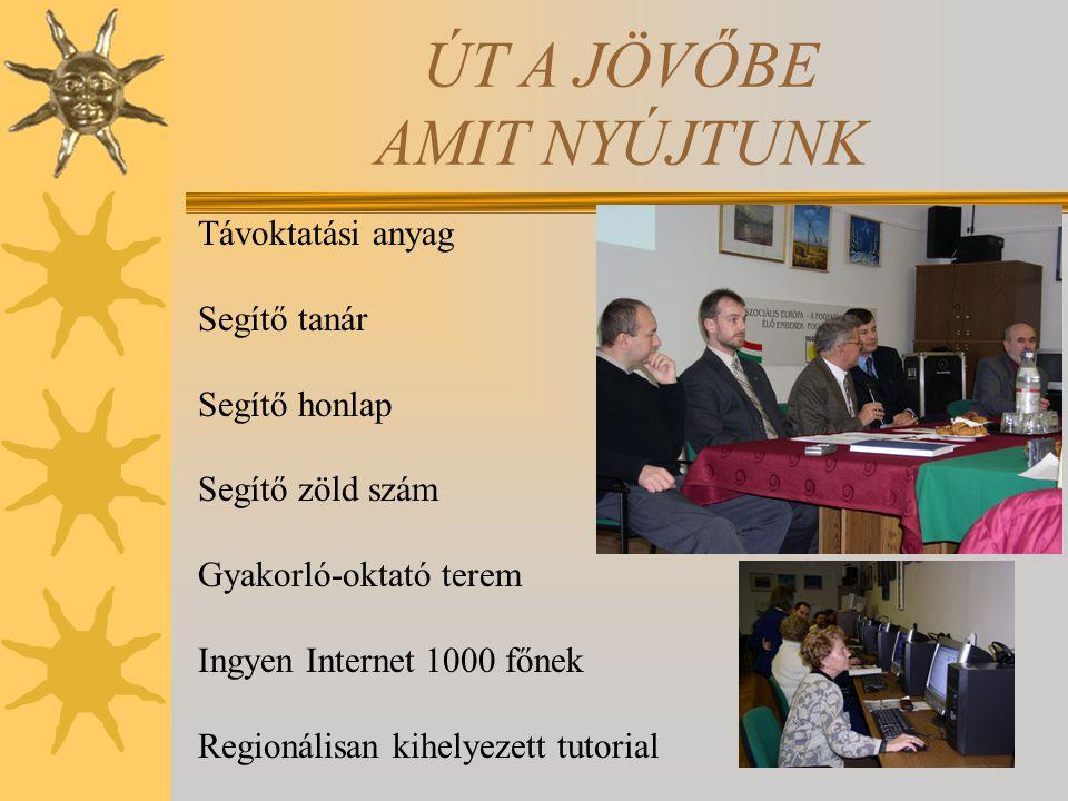 ÚT A JÖVŐBE AMIT NYÚJTUNK Távoktatási anyag Segítő tanár Segítő honlap Segítő zöld szám Gyakorló-oktató terem Ingyen Internet 1000 főnek Regionálisan kihelyezett tutorial