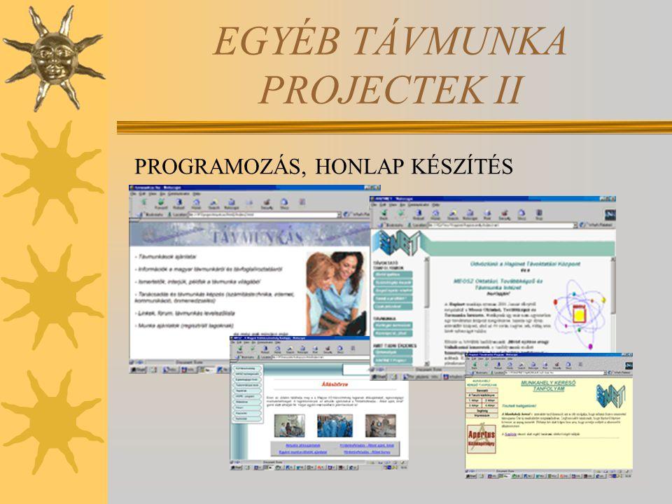 EGYÉB TÁVMUNKA PROJECTEK II PROGRAMOZÁS, HONLAP KÉSZÍTÉS