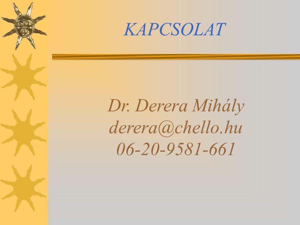 Dr. Derera Mihály derera@chello.hu 06-20-9581-661 KAPCSOLAT