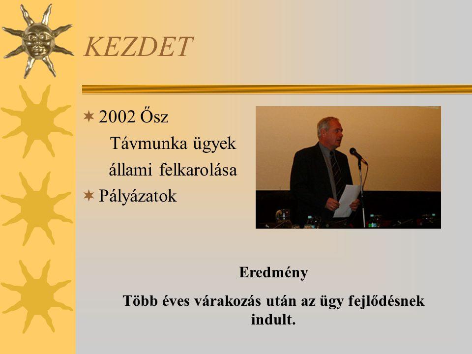 KEZDET  2002 Ősz Távmunka ügyek állami felkarolása  Pályázatok Eredmény Több éves várakozás után az ügy fejlődésnek indult.