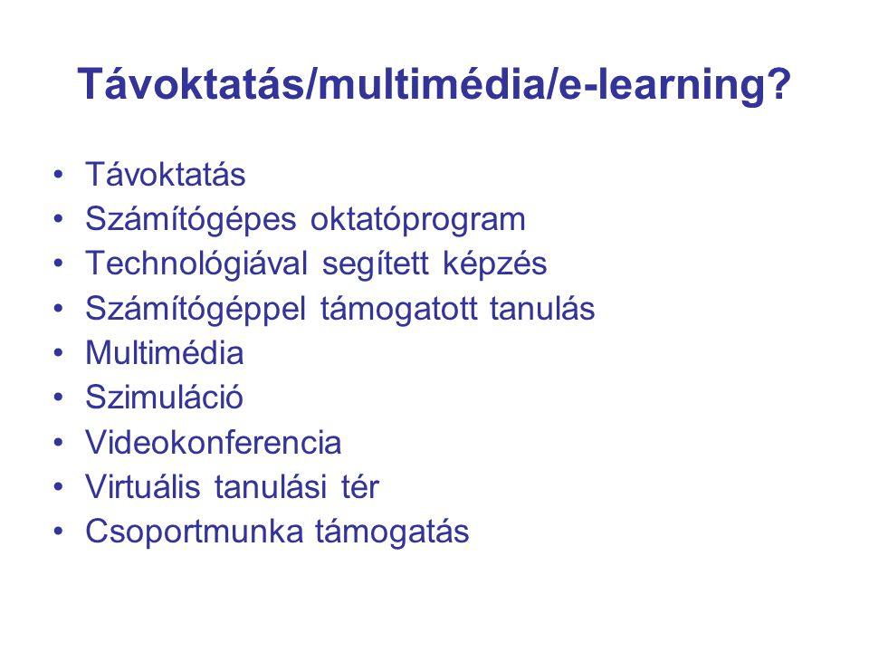 IKT módszerek a felsőoktatásban Multimédiás prezentáció CBT (computer based teaching) –számítógéppel segített tanítás e-learning (distance learning + CBT) LMS, LCMS (Learning Management System, Learning Content Management System) A digitalizált tartalmak célirányos hozzáférésének és konzultációs lehetőségeinek biztosítása E-learning keretrendszerek és tananyagszerkesztők hálózati alkalmazása