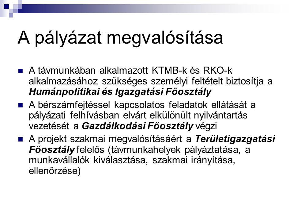 A pályázat megvalósítása A távmunkában alkalmazott KTMB-k és RKO-k alkalmazásához szükséges személyi feltételt biztosítja a Humánpolitikai és Igazgatá