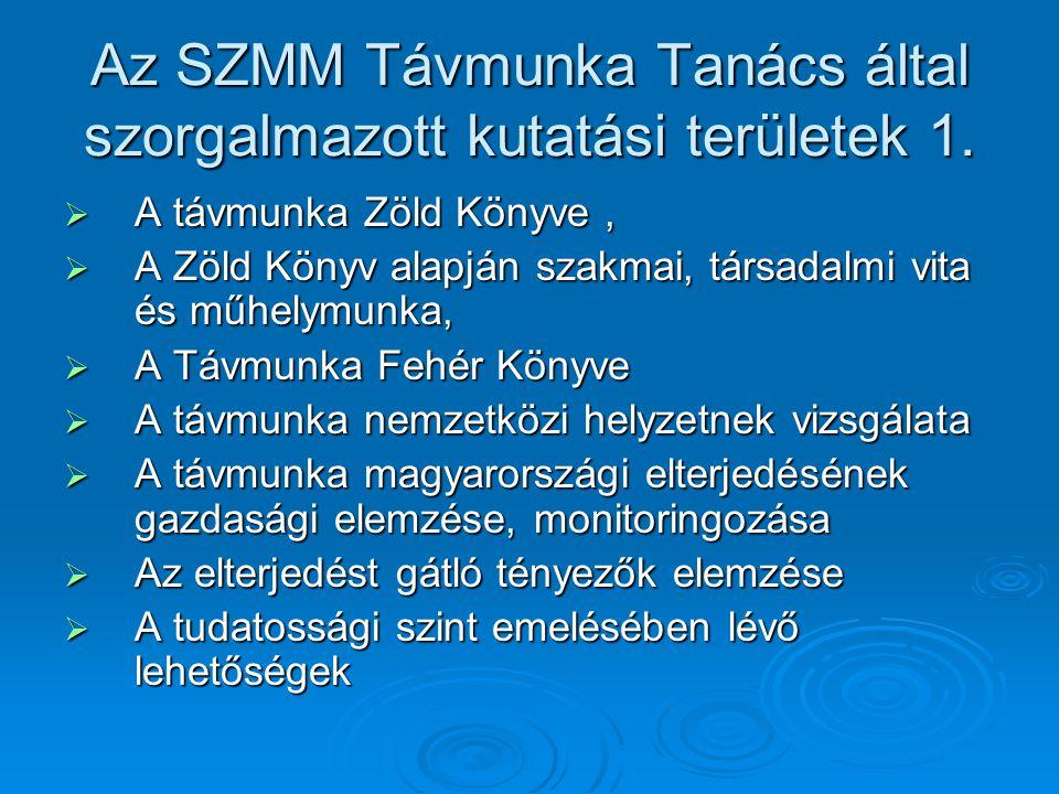 Az SZMM Távmunka Tanács által szorgalmazott kutatási területek 1.  A távmunka Zöld Könyve,  A Zöld Könyv alapján szakmai, társadalmi vita és műhelym