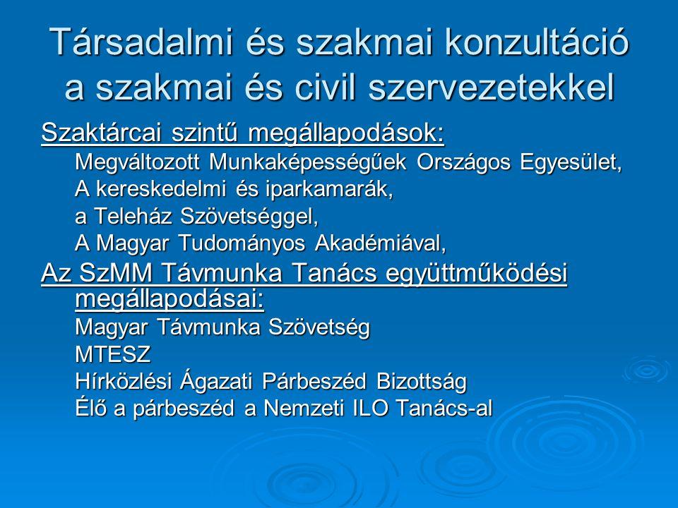 Társadalmi és szakmai konzultáció a szakmai és civil szervezetekkel Szaktárcai szintű megállapodások: Megváltozott Munkaképességűek Országos Egyesület